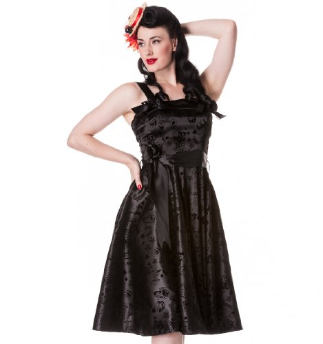 Hell Bunny Black Tattoo Flocked Dress XS - Size 6 / EU 34