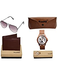 Combo Pack Of YuniiQ Brown Color Wallet With Black Unisex Aviators With YuniiQ Tan Chronograph Watch.