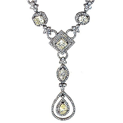 16.80 Ct Round Diamond Fashion Necklace 18k White