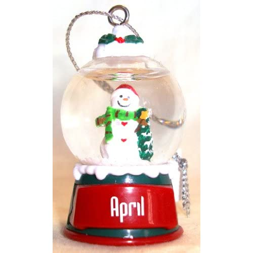 April Christmas Snowman Snow Globe Name Ornament
