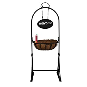 CobraCo Welcome Garden Hanging Basket Planter with Perky-Pet Planter Box Hummingbird Feeder with Hanging Rod