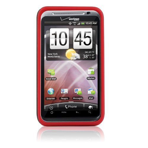 Naztech 3-Layer Cell Phone Covers For Htc Thunderbolt - Vertex - Skin - Retail Packaging - Red