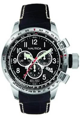 Gents Black Leather BFD Chronograph Watch