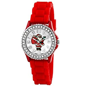 Geneva Women's 10026_xmasredsanta Jolly Boyfriend White Dial with Santa and Crystals Watch
