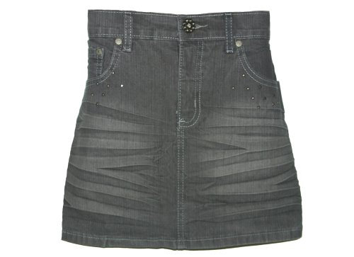 Girls Sequin Distressed Jean Mini Short Skirt