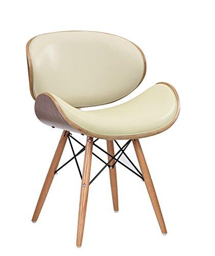 Wohnzimmerstuhl-Esszimmerstuhl-Brostuhl-Designer-Kunstleder-aus-Massivholz-Nussbaum-Eiffel-Finish-Creme-Elfenbein-Nussbaum