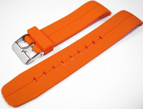 Orange Curved End Polyurethane Rubber Divers Watch Strap band 20mm