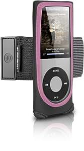 DLO 71023/10 Neopren-Tasche für iPod Nano 4G (Armband, Sichtfenster und 180° drehbaren Gürtel-Clip) schwarz/pink