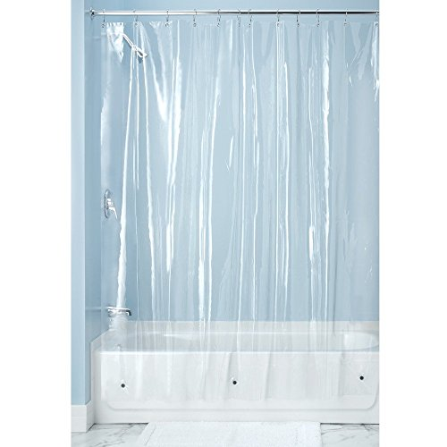 InterDesign Mildew-Resistant Antibacterial 10-Gauge Heavy-Duty Shower Curtain Liner - Long, 72in x 84in, Clear (Peva Gauge Shower Liner X compare prices)