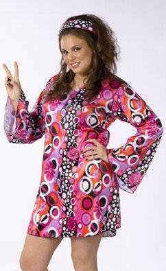 Fun World Feelin' Groovy Retro Go-Go Dress 60s 70s Halloween Costume PLUS SIZE