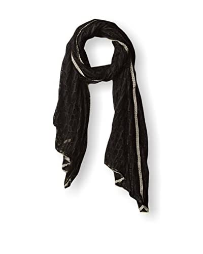 Jules Smith Women's Lace Trim Distressed Scarf, Black