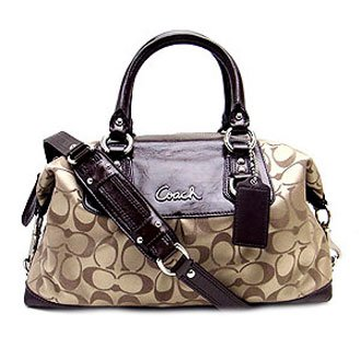 Coach Signature Ashley Sabrina Convertiable Duffle Satchel Bag Purse 15443 Khaki Mahogany