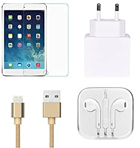 High Quality Tempered Glass, 1.0 Amp USB Charger , Golden USB Cable ,3.5mm Ja...