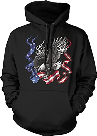Bald Eagle American Flag Mens Sweatshirt, USA Colors And Eagle Design Pullover Hoodie, Medium, Black