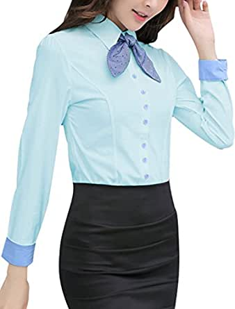 Lady Point Collar Single Breasted Shirt w Removable Bow Tie Light Blue