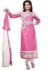Isha Enterprise Women's Cotton Pink Embroidered Dress Material