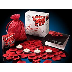 Valentine Amore Romantic Gift Set - Bed of Roses Scented floating silk rose petals and tealight candles - $9.99