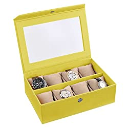 Ecoleatherette Handcrafted Eco Friendly 8 Watch Box, Watch Case, Watch Organizer (Lime Yellow)