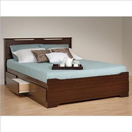 Prepac Coal Harbor Queen Platform Storage Bed with Headboard in Espresso