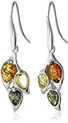 Sterling Silver Multicolored Amber Leaf Dangle Earrings