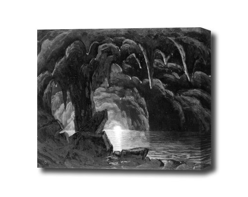 Albert Bierstadt The Blue Grotto Capri Walters Canvas Wall Art Ready To Hang On Wall 16 X 12