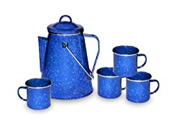 Stansport 8 Cup Enamel Percolator with Four Enamel Mugs, 12-Ounce from Stansport (Outdoors)