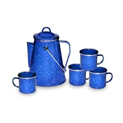 Stansport 8 Cup Enamel Percolator with Four Enamel Mugs, 12-Ounce by StanSport