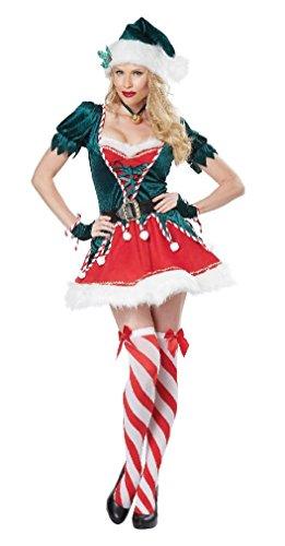[Fancy Sexy Santa's Helper Christmas Elf Adult Costume] (Spartan Princess Costumes)