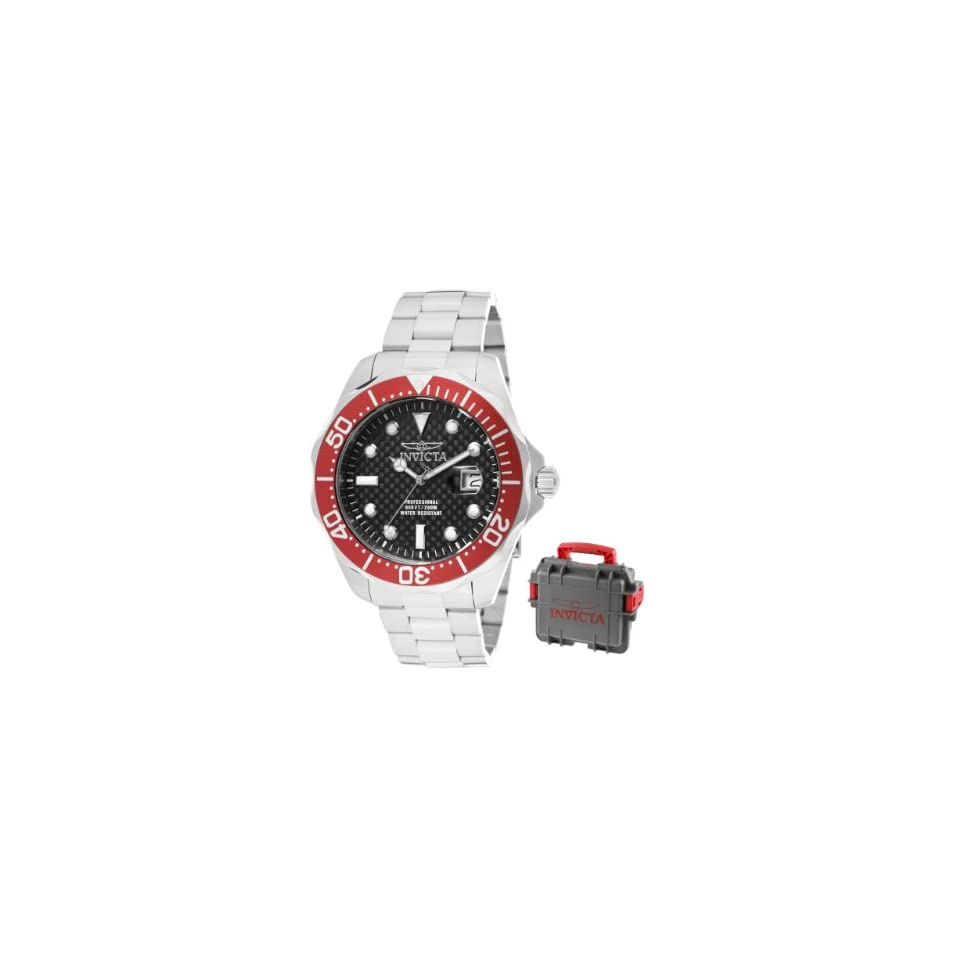 Invicta Mens 12565 Pro Diver Black Carbon Fiber Dial Stainless Steel Watch with Grey/Red Impact Case