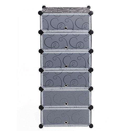 Songmics-6-Ebenen-DIY-Kunststoff-Steckregal-Schrank-Schuhregal-Regalsystem-107-x-50-x-37-cm-LPC06H