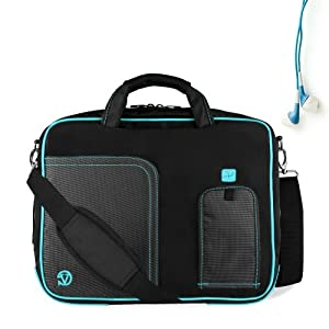 Aqua Marine Blue Pindar Ultra Durable 15 inch Tactical Messenger bag for your Lenovo ThinkPad Edge E520 Ultrabook with Extra Features: Reinforced durable constructions, Velcro charging port to charge without removing device, extra pockets for charger and Apple sized tablets or eReaders, Unique pull down Smartphone & MP3 front pocket with earphones slot, and Tuck Away Handles!!! + Universal Compatible Earbuds