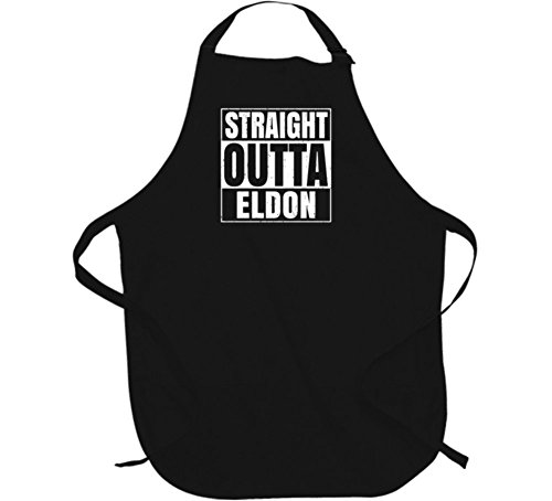 Straight Outta Eldon Iowa City Father's Day Apron L Black (Eldon Shirt compare prices)