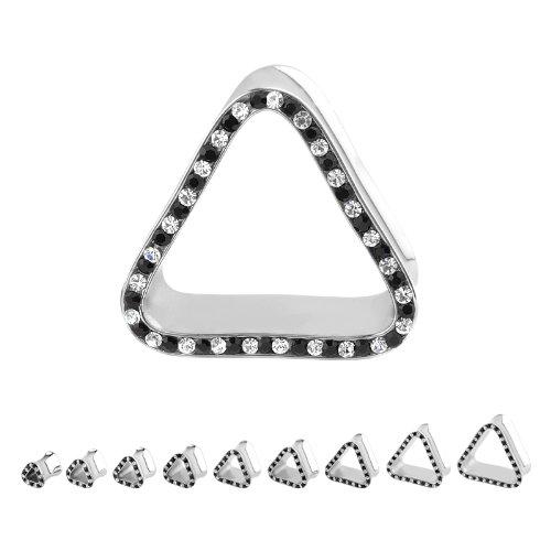 316L Surgical Steel Black Clear Triangle Multigem Plugs - 7/8