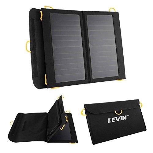 LEVIN ソーラーチャージャー 折り畳み式 2出力ポート13W 5V/2A スマホ/タブレット対応 ソーラー充電器 ソーラーモバイルバッテリー (ブラック)