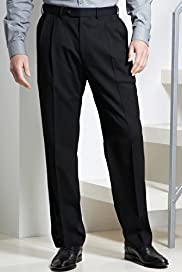 Big & Tall Supercrease® Active Waistband Twin Pleat Trousers with Wool