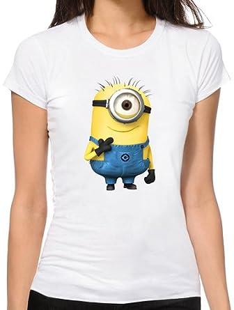 weiss Minions Damen T-Shirt Girlie : Kiss Me