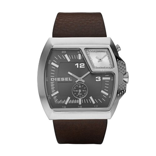 Diesel Men's Multi-Dial Gunmetal Chronograph Watch Dz1417 With Brown Leather Strap