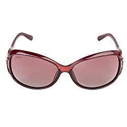Walnut Maroon Round Frames Sunglass For Women