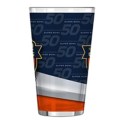 NFL Denver Broncos Super Bowl 50 Champions Sublimated Pint Glass, 16-ounce