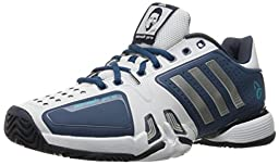 adidas Performance Men\'s Novak Pro Tennis Shoe, White/Matte Silver/Vista Blue Fabric, 12 M US