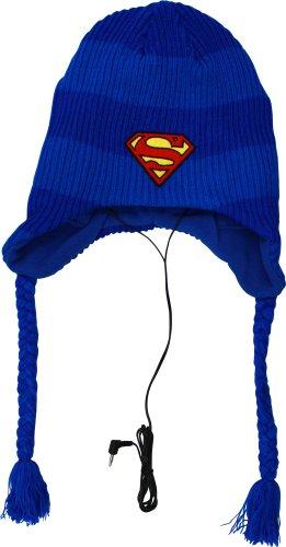 Superman Headphones Laplander Knit Cap, Blue, One Size