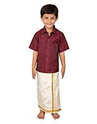 Thangamagan Boy's Shirt/Dhoty Regular Fit (Maroon,Age : 7 to 8 Years)