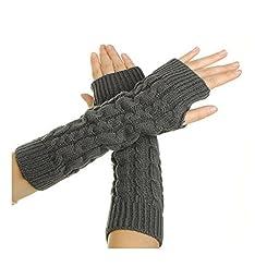 FuzzyGreen® Women Lady Girl Crochet Knitting Wool Braided Wrist Arm Warm Mitten Fingerless Long Gloves-Dark Grey