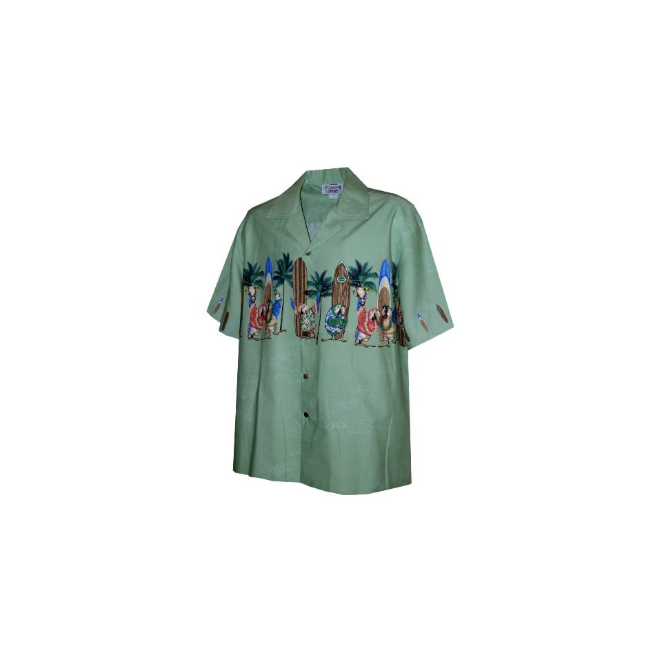 Pacific Legend Mens Parrot Surfboard Chest Band Shirt in Sage   S