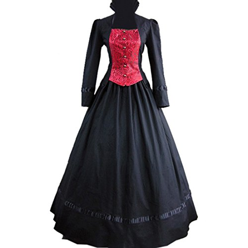 Aristocratic Long Sleeves Single-Breasted Black And Red Gothic Victorian Dress Large,Black And Red front-832716