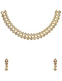Divya Collection Antique Look American Diamond Kundan Necklace Set For Women