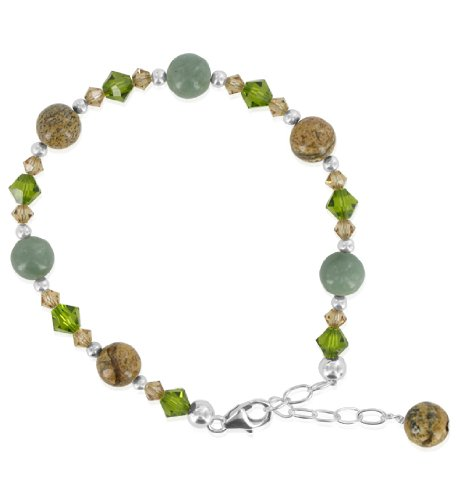 SCBR205 Made with Swarovski Elements Green Jasper & Crystal Adjustable Bracelet in .925 Sterling Silver with Lobster Clasp 7