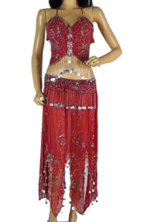 Red Bra Choli Skirt Coin Belly Dancer Costume Set S
