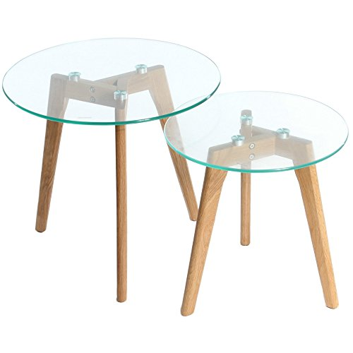 Set Of 2 Round Coffee Tables Solid Oak Legs Glass Top Best Coffee Tables Deals