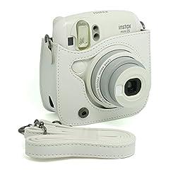 CAIUL PU Leather Instant Camera Case For Fujifilm Instax Mini 25 Instant Camera,White